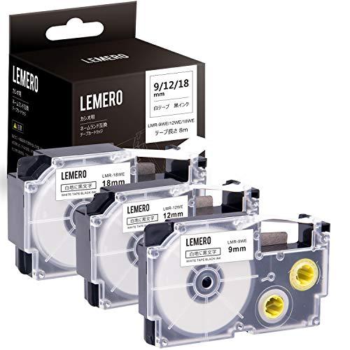 Lemero カシオ用 ラベルライター ネームランド XR-9WE/ XR-12WE/ XR-18WE 互換テープカートリッジ 白地黒文字 幅9mm/ 12mm/ 18mm 長さ8m テプラテープ