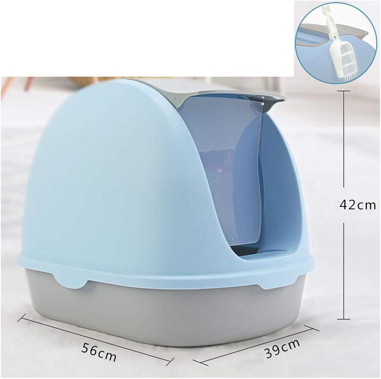QIQI Cat Toilet Cat Litter Pan Fully Enclosed Cat Litter Box Antispatter 39  56  42cm (color   bluee)