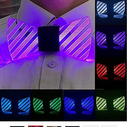 Cadeau de lumière LED pour Hommes LED Hommes Noeud Papillon Cravate Acrylique Lumineuse pour Mascarade Costume de soirée Noeud Papillon pour Halloween Noël-A