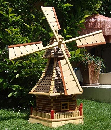ÖLBAUM XXL Premium-Holz-Windmühle, windmühlen Garten, mit Holzschindeldach, o. 2X-SOLARBELEUCHTUNG-Zubehör,kugelgelagert WMS130du-OS 1,30 m groß Dunkelbraun