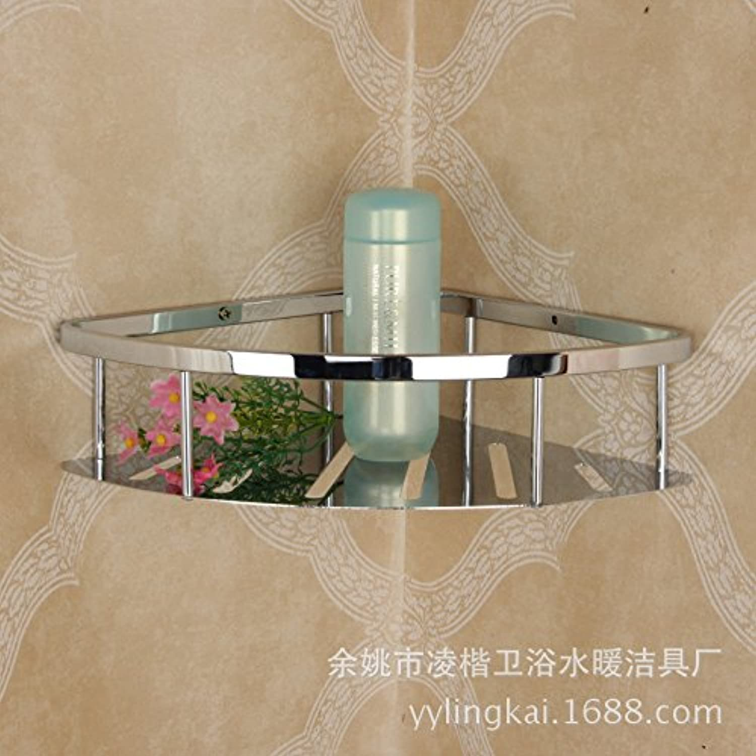 Stainless steel single tier bathroom rack triangular steel corner rack