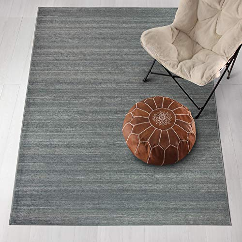 RUGGABLE Washable Stain Resistant Pet Dog Runner Rug for Indoor/Outdoor - Solid Textured Grey 2.5' x 7' Runner Rug Set
