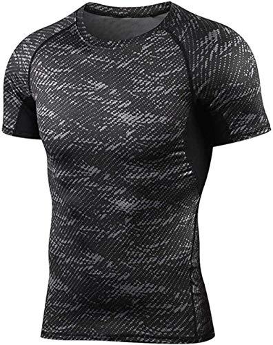 B/H Hombres Skinny Tight Compression,Camiseta de Entrenamiento Deportivo, Gimnasio de Secado rápido Manga Corta-2_XL