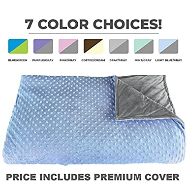 Premium Weighted Blanket, Perfect Size 60  X 80  and Weight (15lb) for Adults and Children. Deluxe CALMFORTER(tm) Blanket Relieves Anxiety, Stress, Agitation, Insomnia. Price Includes Cover!