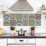 LSMYM Impermeable Azulejos árabes Pegatinas Baño Cocina Calcomanías de pared autoadhesivas Gabinete Estufa Decoración de pared Murales a prueba de arañazos J 6pcs / set