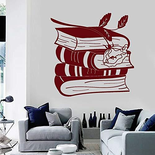 Calcomanía de pared Libros Rose Art Mural Sala de lectura Ratón de biblioteca Biblioteca Interior del aula Decoración creativa Puerta Ventana Pegatinas A2 42x42cm