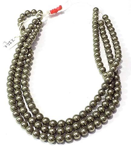 AAA Natural 1 hebra de oro de piedras preciosas perlas de pirita para hacer la joyería | 10 mm alrededor de granos de pirita de oro | Oro los granos flojos redondos lisos pirita | Strand 15