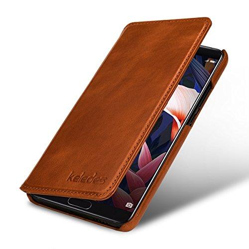 keledes kompatibel mit Huawei Mate 10 Hülle aus Echtem Leder,Brieftasche Flip Case mit Karten-Fächern, Cognac Braun - 2