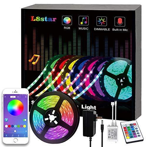 LED Strip Lights, L8star RGB 5050 LEDs Color Changing Kit,24key Remote Control and Power Supply with Bluetooth Smartphone APP Controller for Home Kitchen Christmas Indoor Decoration(16.4ft)