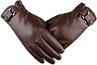 Men's Windproof Gloves Bicycle Leather Slip Plus Velvet Thickening Gloves Spring Autumn Winter Plus Size Soft Fashion Gloves (Color : Brown)