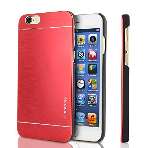 Funda iPhone 6 , MOTOMO Carcasa Protectora Aluminio Metalizado Apple iPhone 6 Backcase Rigida Antichoque Elegante Compacta Ultraligera en Rojo