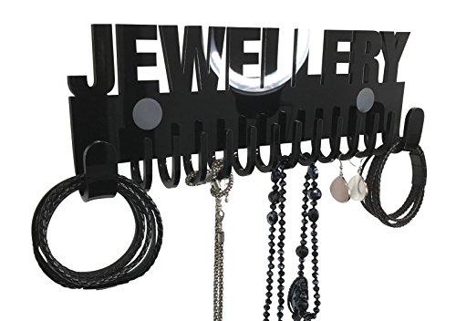 Preisvergleich Produktbild Schmuckhalter Wand Design by GALEARA Kettenhalter mit Jewelry Schriftzug Schmuckaufbewahrung (Jewellery - Schwarz)