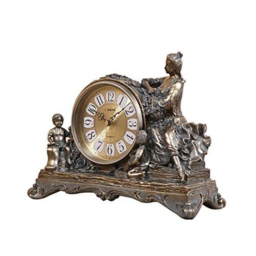 SESO UK- Europäische Retro Quartz Uhr Resin Wohnzimmer Schreibtisch Regal Stand Uhren (Farbe : Bronze)