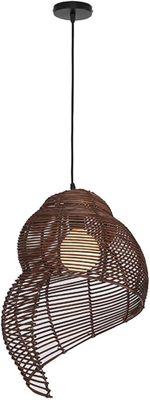 LOFAMI Kreativ Retro Natürliche Rattan Weaving Snail Kronleuchter Study Zimmer Wohnzimmer Liubian Dekorative Deckenleuchte e27 (Farbe   braun-35  50cm)