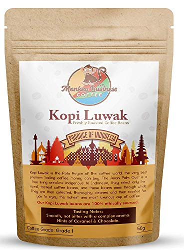 Monkey Business Coffee - Wild Kopi Luwak Coffee Ground Beans - Ethically Sourced - 50 Grams (1.75oz) (Other Weights & Bean Types Available) - Produce of Indonesia…