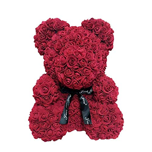 AoJuy 40 cm Rosenbär, Kunstblume Teddybär, Liebesherz, Schaumstoffrose, Hochzeits-Party, Geschenk, Heimdekoration - weinrot