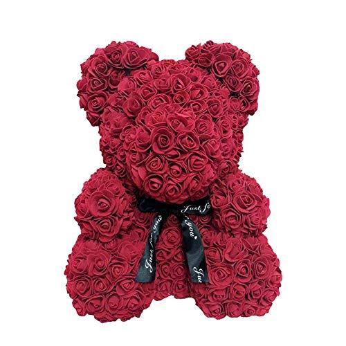 AoJuy 40cm Rosa Oso, Simulación Flor Osito, Corazón Love Espuma Rosa, Boda, Fiesta, Regalo Decoración Hogar - Rojo Vino