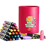 Jar Melo Washable Jumbo Crayons for Toddler -24 Colors ;Non Toxic; Twistable Gel Window Crayons;Silky Crayon for kids ; Art Tools;