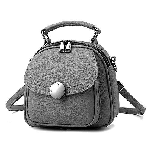 Mini Grauer Rucksack Phone Rucksäcke PU Leder Backpack Handtasche Für Frauen Mädchen...