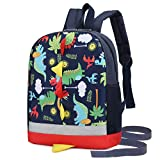 Kids Toddler Backpack Boys with Strap Dinosaur Blue Kindergarten Leash Bookbag (dark blue)