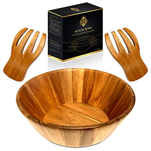 RegaLuxury Acacia Bowl With Salad Serving Hands 12...