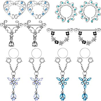 Hicarer 12 Pieces Fake Nipple Ring Stainless Steel Non-Piercing Dangle Nipplerings Faux Body Piercing Jewelry