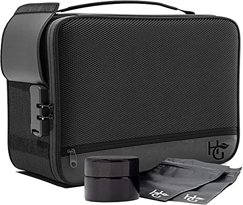 Herb Guard Black Large Smell Proof Case and Smell Proof Box with Combination Lock (Holds 3 Ounces) – Upgraded with…