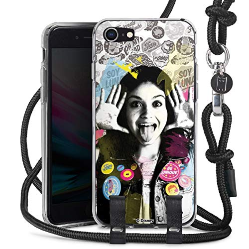 DeinDesign Carry Case kompatibel mit Apple iPhone 7 Hülle mit Kordel aus Stoff Handykette zum Umhängen schwarz Soy Luna Disney