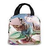 Lsjuee Dinosaurio Surf T-Rex divertido Surfing Steak Picnic Bag Lunch Bag Gran capacidad impermeable Unisex Shopping Bag School Picnic O