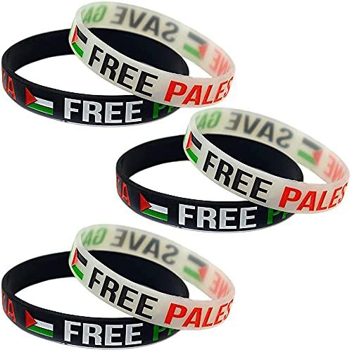 SITAILI Save Gaza Free Palestine Flag Rubber Silicone Wristband, Unisex Bracelets Charms Cuff Bangle (6 Pcs)
