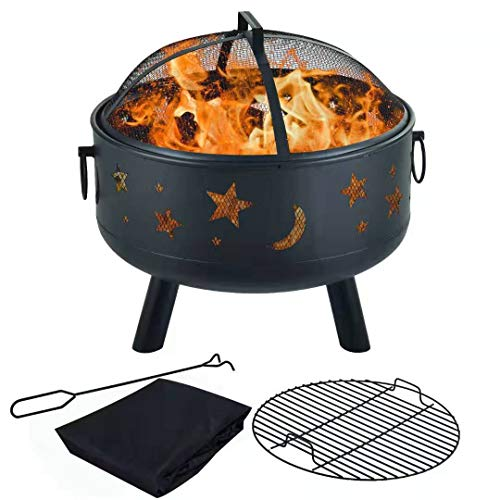 Big Save! Y-ME Wood Burning Fire Pit Outdoor Patio Campfire Backyard Fireplace,Round Steel Deep Bowl...