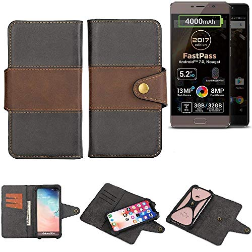 K-S-Trade® Handy-Hülle Schutz-Hülle Bookstyle Wallet-Case Für Allview P9 Energy Lite (2017) Bumper R&umschutz Schwarz-braun 1x
