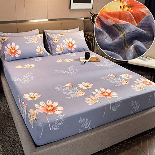 HAIBA Sábana bajera de franela de algodón cepillado de lino o fundas de almohada, sábana bajera térmica suave y acogedora, 150 x 200 cm (3 piezas)