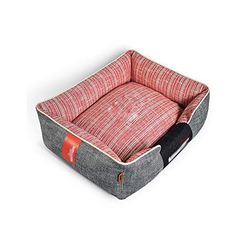 WZLJW Innen Hundebetten, Rechteck Orthopädisches Hundematte Hund Cuddler Bett Gemütlich Atmungsaktiv Abnehmbare Bezug-rosa 60x75cm(24x30inch)