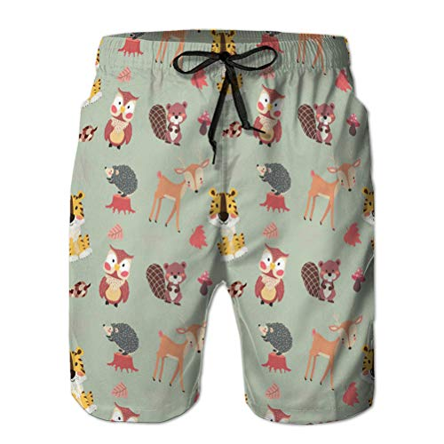 LJKHas232 406 Neueste Männer Quick Dry Beach Board Shorts niedlichen Waldtiere Charakter Herbst L