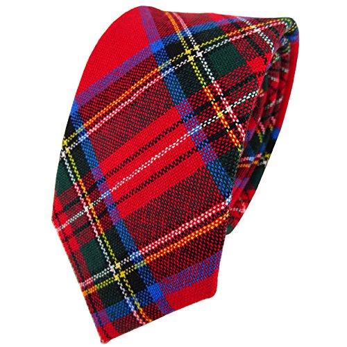 TigerTie Designer Wollkrawatte rot grün blau gelb silber kariert -Krawatte Wolle
