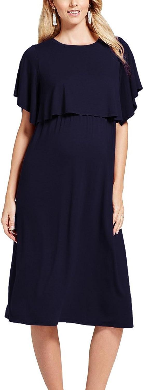 Pink QueenWomen's Cotton Maternity 3 4 Sleeve Nursing Dress