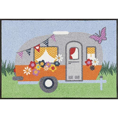 Wash&Dry Happy Camping Felpudo, acrílico, carbón, 50 x 75 x 0.7 cm