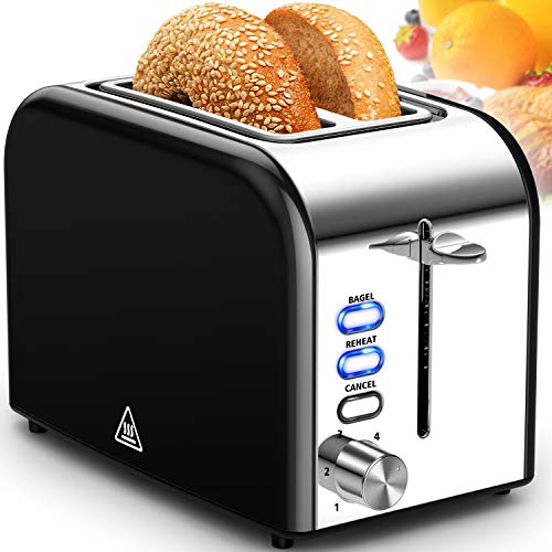 Toaster 2 Slice Extra Wide Slot Toasters Best Rated Prime Stainless Steel with Bagel/Reheat/Cancel Function Black Toaster for Bread with Removable Crumb Tray