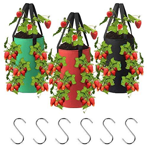 ConBlom - Sacchetti per piante da giardino, 3 pezzi, in tessuto non tessuto, 9 grandi per fragola, mela di terra, pomodori, fiori con 6 ganci