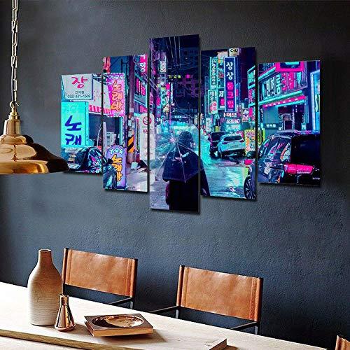 Cuadro en Lienzo Neón Ciudad Nocturna Japón Moderno Impresión de 5 Piezas Impresión Artística Imagen Gráfica Decoracion de Pared - Enmarcado