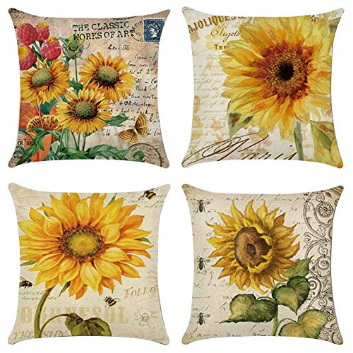 XIECCX Throw Pillow Covers Decorative Set of 4 - Linen Cotton Cover Constellation for Sofa,Bed,Chair,Auto Seat 18 x 18 inch(Sunflower)