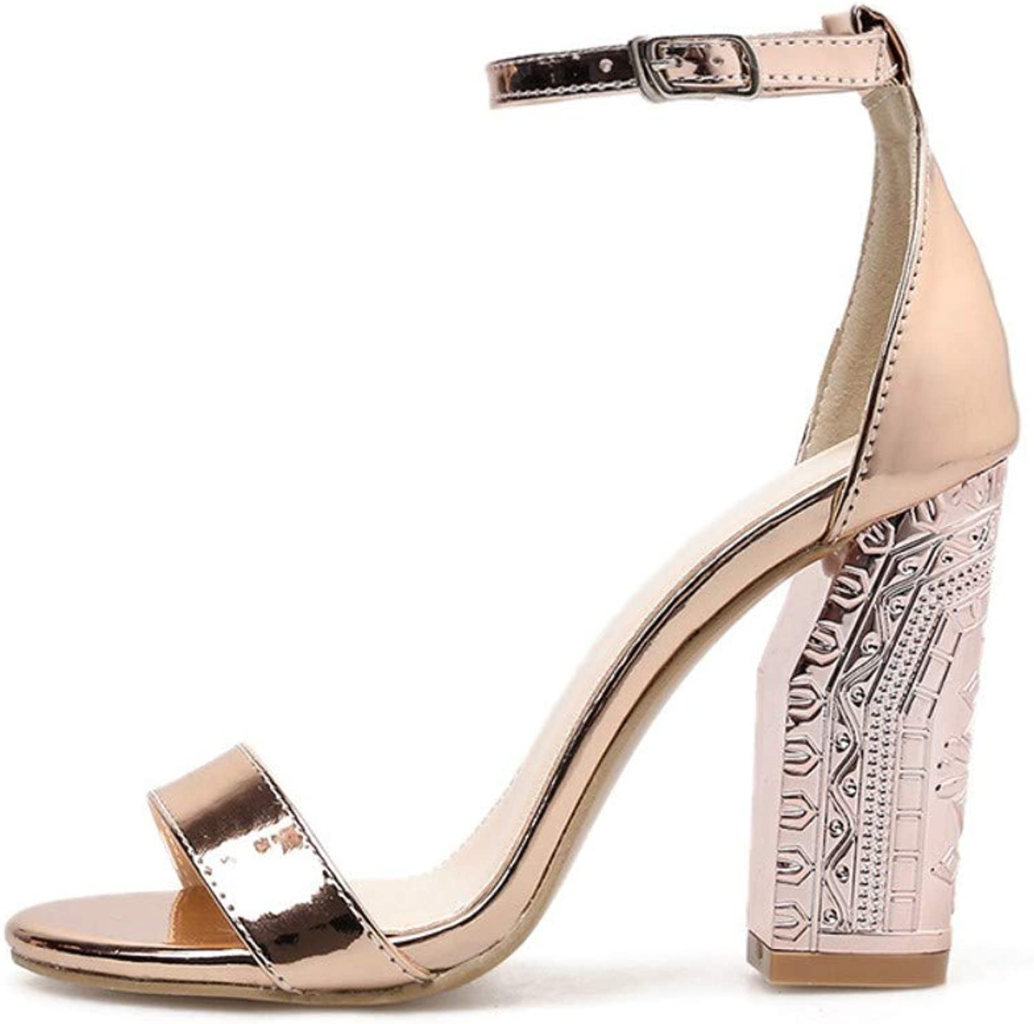JQfashion Women's High Heel Sandals Thick with Roman shoes Summer