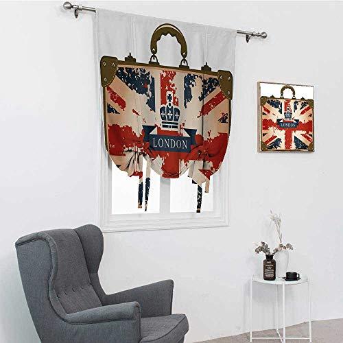 GugeABC Union Jack Roman Shades, Maleta de viaje vintage con bandera británica London Ribbon and Crown Image Cortina Tie Up Shade, azul oscuro, rojo, marrón, 48 pulgadas x 64 pulgadas