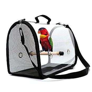 WSNDG Sac de Transport d'oiseaux, Cage de Voyage pour Oiseaux légère et Portable, Sac à Main Respirant Transparent en PVC pour Perroquet et Petits Animaux (Noir)