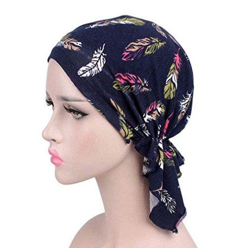 pinke Frauen Damen Blumenkopf Wraps Chemo Hut Turban Muslim Turban Headwear Schal Abdeckung Elastic Cap Nightcap Retro Kreb