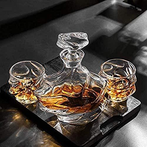 Whiskey CARAFE ANTER PERSONALIZADO ANTER, 900 ml Botella de vidrio y seis gafas de licor de 320 ml, oficina de regalo de whisky o para hombres para Bourbon Scotch Vodka Whiskey Regalo para hombres