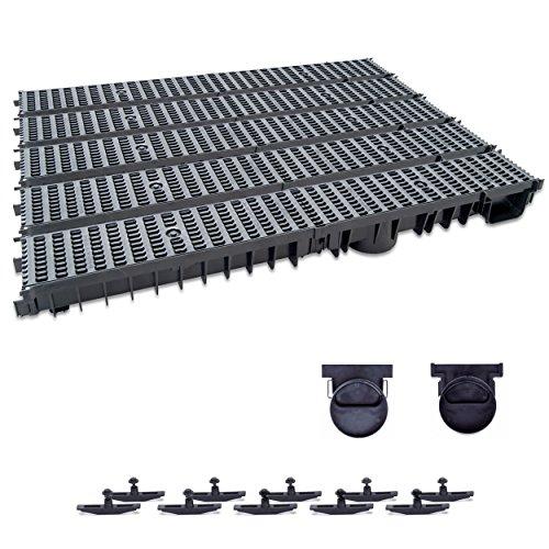 ZMMMAXPOL 5m Entwässerungsrinne mit Dichtung Belastungsklasse B125. Stegrost Kunststoff Schwarz. Tiefe: 100mm