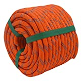 YUZENET Static Rock Climbing Rope 2/5 Inch 100 Feet Outdoor Safety Fire Escape Rope Rappelling Rope,Orange/Blue