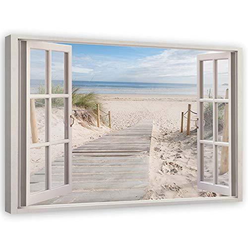 Feeby Cuadro en Lienzo Playa Calidad Fotografica 3D Ventana 120x80 cm Beige